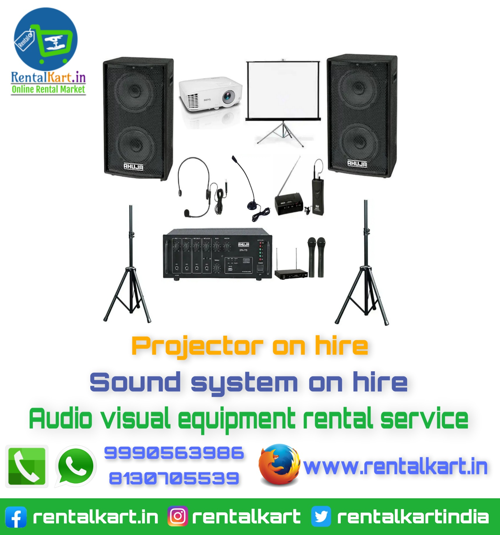 Projector and Speakers with mic on hire